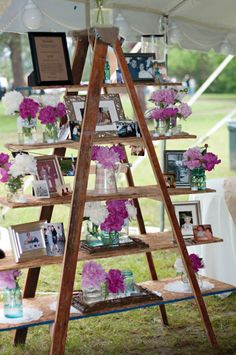 Top 20 Vintage Wooden Ladder Wedding Decor Ideas a wedding display with photos, flowers and frames can be a nice wedidng decoration for any space Budget Wedding, Chic Wedding, Wedding Events, Rustic Wedding, Wedding Planning, Table Wedding, Modest Wedding, Wedding Ceremony, Wooden Ladder