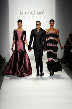 Cindy Bruna, B. Michael (center) and Kai Newman walk the runway at the B. Michael America Fall 2013 fashion show during Mercedes-Benz Fashion Week at The Studio at Lincoln Center on February 13, 2013 in New York City. - B Michael America - Runway - Fall 2013 Mercedes-Benz Fashion Week