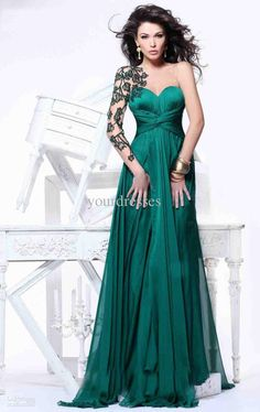 Wholesale 2013 Unique Dark Green Applique One Sleeve Backless Prom Dresses Dance Dresses Chiffon, Free shipping, $107.52-117.6/Piece | DHgate