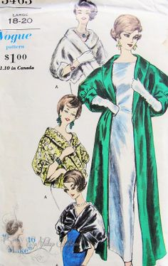 1960s Elegant Cape Stole Pattern Pure Glam Cape Stole Wraps In 2 Lengths Easy To Make Vogue 5463 Vintage Sewing Pattern Size Large