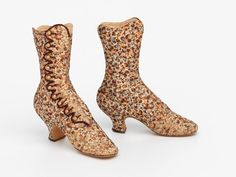 France Boots by F. Pinet Silk, leather, gold National Gallery of Victoria Heeled Boots, Shoe Boots, Old Shoes, Designer Boots, Boot Socks, Gold Ink, Victoria S, International Fashion, Metal Buttons