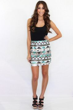 The Takeover sequin Aztec mini skirt $48.00 Available at The Laguna Room www.thelagunaroom.com