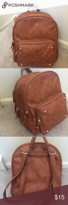 5e1111debcedc1 faux leather backpack ✨ Tan faux leather New without tags, never used  Perfect for on