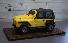 Jeep wrangler 3D cake; yellow and black cake; groom's cake