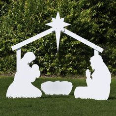 Large Silhouette White Outdoor Nativity Set Holy Family Scene By
