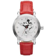 Disney's Mickey Mouse Women's Leather Watch (68 AUD) ❤ liked on Polyvore featuring jewelry, watches, red, disney, water resistant watches, disney watches, red watches and leather watches