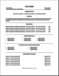 examples of a basic resume template httpwwwresumecareerinfo