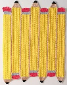 Crocheted Pencil afghan — Country Woman Magazine--A great end of school teacher gift!now if only I could crochet. Love Crochet, Learn To Crochet, Crochet For Kids, Crochet Motifs, Crochet Stitches, Crochet Patterns, Crochet Crafts, Crochet Yarn, Crotchet