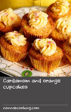 Cupcakes are popular with everybody, and this recipe - with cardamom and candied fennel - is a little bit special. It's definitely a recipe for parties or afternoon tea with friends. Orange Cupcakes, Yummy Cupcakes, Fennel Recipes, Cup Cakes, Cupcake Recipes, Afternoon Tea, Icing, Muffin, Vegetarian