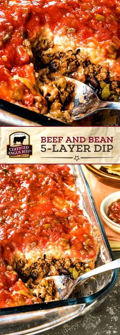 Made with certified angus beef®️ brand ground beef, black beans and refried Best Beef Recipes, Ground Beef Recipes, Mexican Food Recipes, Cooking Recipes, Recipes With Diced Beef, Mexican Dinners, Bean Dip Recipes, Meat Recipes, Healthy Recipes