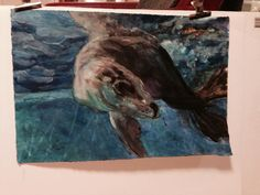 Acrylic & ink - I loved creating this - lots of movement - Taronga Seal