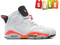 on sale 2a3ec 5f3b1 Air Jordan 6 VI Retro 2014 GS - Chaussures Nike Jordan Pas Cher Pour Femme Garcon  Blanc Rose Noir 384665-123