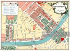 Plan of the Universal Exposition, Paris, 1889. The Exposition Universelle of 1889 was staged in commemration of the centenary of the French Revolution. The Eiffel Tower was built at the entrance to the exhibition. A print from Figaro Exposition, Simpkin, Marshall, Hamilton, Kent and Co, Limited, 4 Stationers Hall Court, London, 1889.