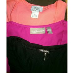 Bundle of 3 women's tops. Medium. A bundle of 3 branded women's tops:  Ann Taylor Loft (peach/coral),  croft & barrow (stretch, pink),  daisy fuentes moda (black).   All size medium.  NWOT. In excellent condition.   I have them listed separately too, if you only want one.   #mediumtopbundle #nwot #neverworn #anntaylor #croft&barrow #croftbarrow #daisyfuentes Ann Taylor Tops