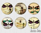 DRAGONFLY Art  - IDEA for mobile-set of 6 pin back buttons, flatbacks,magnets or Toppers - please specify at checkout - magnets fit Magnabilities