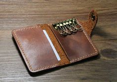 handmade distressed mens leather wallet by abbycraftshop Leather Key Holder, Leather Key Case, Key Wallet, Credit Card Wallet, Handmade Leather Wallet, Leather Keychain, Wallet Pattern, Leather Projects, Leather Accessories