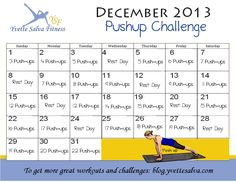 push up December Challenge get more great workout videos at http://blog.yvettesalva.com