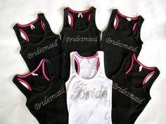 6 Bride Bridesmaid Tank Tops. Bride by TheLittleBridalShop on Etsy, $96.00