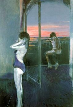 Sughi, Alberto (1928- ) - 1986 The Balcony on the Sea    Oil on canvas; 110 x 130 cm.    Sughi was born in Cesena, Emilia-Romagna. A self-taught painter, by the end of his formative years he had become one of the greatest Italian artists of his generation. He started painting in the early 1950s, choosing realism in the debate between abstract and figurative art in the immediate post-war period. Even from his early works, however, Sughi's paintings have avoided any attempt at social…