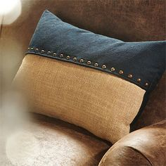 Sewing Pillows Nailhead detailing with a great mix of crisp blue denim and relaxed jute combine to make a nautical statement. This globally inspired private label p - Sewing Pillows, Diy Pillows, Decorative Pillows, Throw Pillows, Cushion Covers, Pillow Covers, Denim Decor, Scatter Cushions, Quality Furniture