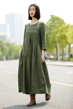 Green Linen Dress - Casual Pleated Loose-Fitting Comfortable Long Maxi Woman's…