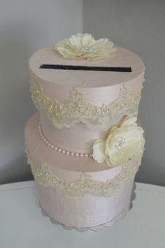Blush Silk Wedding Card box and Guest Book Custom made to order by ForeverLoveNotes, $149.00
