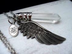 Kette Halskette Bettelkette  Flügel XL-Anhänger