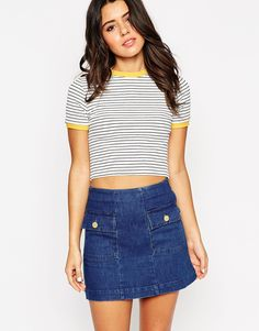 ASOS Crop Top In Textured Stripe With Contrast Neck Trim