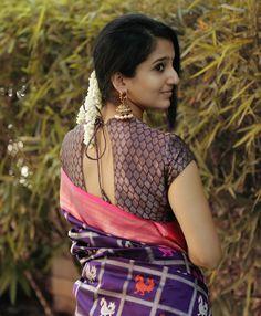 Product Details: Banaras silk with silver zari weaving Blouse: Pink silk (same colour as border and pallu) Brocade Blouse Designs, Saree Blouse Neck Designs, Fancy Blouse Designs, Beautiful Girl Indian, Beautiful Girl Image, Beautiful Saree, Stylish Photo Pose, Saree Photoshoot, Saree Models