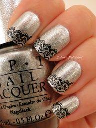 Shiny nails with diagonal lace #Nails Nail Art www.finditforweddings.com very pretty as #weddingnails