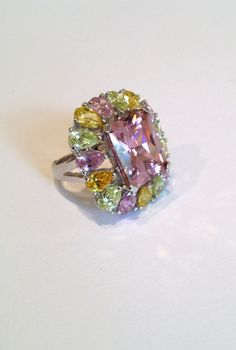 Vintage Sterling Silver Pink Sapphire Peridot and Citrine Estate Jewelry Ring by WOWTHATSBEAUTIFUL