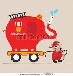 An Elephant firetruck with a cute animal