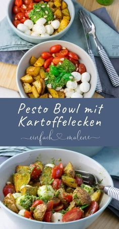 Ich bin völlig vernarrt in das so unglaublich einfache Rezept für die Pesto Bo. I am completely fond of the incredibly simple recipe for the pesto bowl with roasted potatoes that I have to tell ever Pesto Potatoes, Roasted Potatoes, Vegetarian Recipes, Healthy Recipes, Sour Cream, Guacamole, Family Meals, Food Inspiration, Healthy Snacks