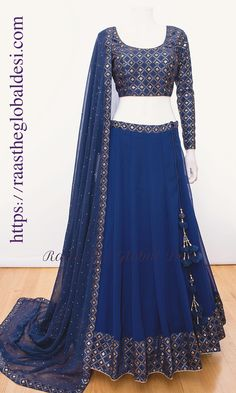 lucknowi lehenga online Silk Chania with designer brocade blouse and contrast dupatta Indian Fashion Dresses, Indian Bridal Outfits, Indian Gowns Dresses, Dress Indian Style, Indian Designer Outfits, Indian Wear, Evening Dresses, Half Saree Lehenga, Lehnga Dress