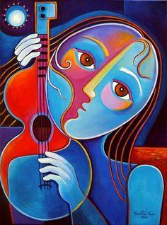 Девушка с гитарой в стиле кубизм