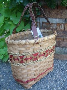 Hannah Tote Basket   Hand woven with red accent by BasketsByEmily, $55.00