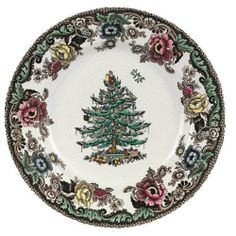 Spode Christmas Tree Grove 10-Inch Dinner Plate by Spode. $24.99. Extensive line of matching place settings and serveware available. Dinner plate in Christmas Tree Grove pattern; 10 inches in diameter. Safe for use in the microwave and cleanup in the dishwasher. Crafted from earthenware with decorated tree and British Flowers border. Perfect for holiday meals and celebrations with a traditional, festive feel. Amazon.com Product Description                Created by Spode for eleg...