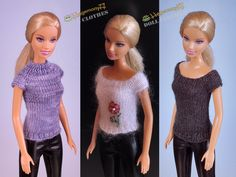 23: Barbie doll in 3 different hand knitted top - Hegemony77 doll clothes