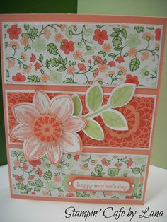#Mother's Day Card made with Gold Soiree DSP from Stampin' Up. Flower from Petal Potpourri stamp set. Sentiment from Teeny Tiny Wishes. Colors are Crisp Cantaloupe and Pistachio Pudding. One more month and these colors will be gone!
