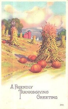 Vintage Thanksgiving Postcard Corn Stalks Pumpkins Farm Scene | eBay