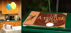 """On the left: We painted our hand prints and names on a white mail box, just like Carl and Ellie did, to hold cards on the gift table! On the right: I ordered """"Our Adventure Book"""" (from http://www.etsy.com/shop/SlightlyEmbellished) to use as our guest book. I plan to fill in the rest of it with wedding cards and photos.  :)"""