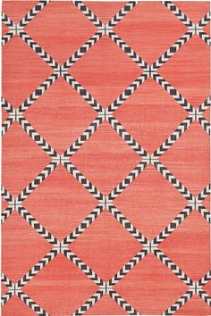 "I LOVE HOW THERE IS AN OPTICAL ILLUSION TO THIS PATTERN!! The black/white ""moves""... loosen your eyes & you will see it! Primrose Lolita handwoven cotton flatweave carpet from Madeline Fox - Fox Weinrib"