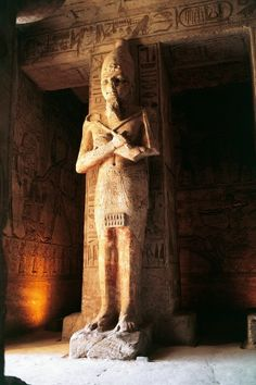 Egypt, Nubia, Abu Simbel, Great Temple of Ramses II, Colossus of the pronaos (c)