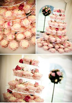Cupcake towers are a cute alternative to wedding cakes! #cupcakes