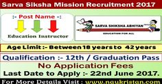Sarva Siksha Mission (SSM) InvitesOnline Applications from, those people satisfying certain pre define requirements for filling current job for the Post of 93 Education Instructor Vacancies. Interested applicants need not get worried as associated details regarding the Sarva Siksha Mission Recruitment 2017 – 2018 is provided and explain here. Interested aspirants people can get information …