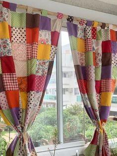 Patchwork Curtains, Crochet Curtains, Diy Curtains, Diy Sewing Projects, Quilting Projects, Sewing Crafts, Patch Quilt, Rag Quilt, Designer Bed Sheets