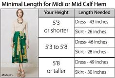 Find your perfect hem length. Use this guide to know what length dress or skirt you will need. It has the information for knee length to full length hems.