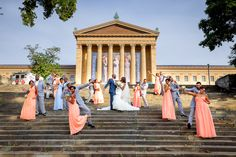Love this bridal party photo at a Philly musuem. What a gorgeous wedding photographed by @ketanuva #weddingplanning #weddingphotography