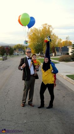 Up! Family Halloween costume: Mr. Fredrickson, Kevin, and Russel. I think it wold be cuter as the baby be kevin and the mom be russel...