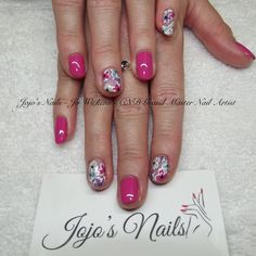 CND Shellac Manicure with hand painted flowers